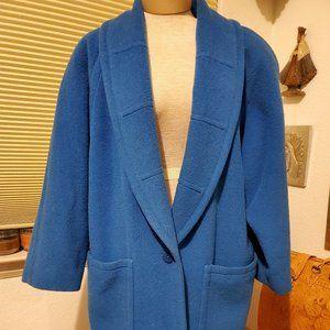 Vintage 80's Escada blue wool coat